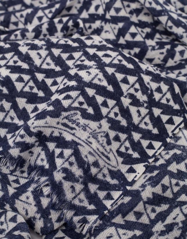 Etole en laine bleu marine imprimé en gris