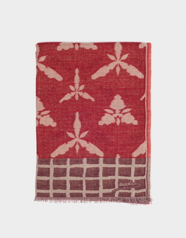 Burgundy foulard with ivory designs