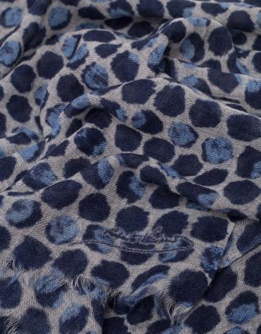 Fular lana estampado geométrico azul