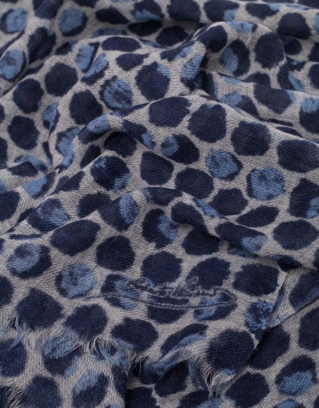 Blue geometric print wool foulard