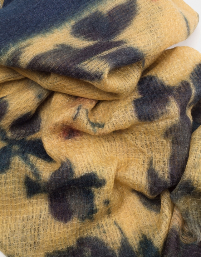Copper and gold floral print silk and wool foulard