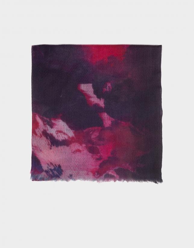 Fuchsia print silk and wool foulard