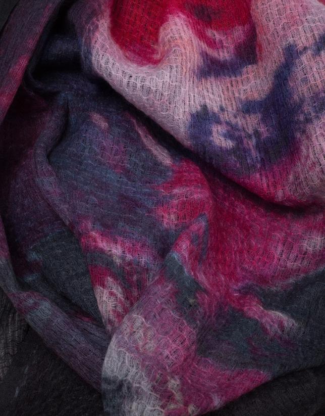 Fular lana y seda estampado fucsia