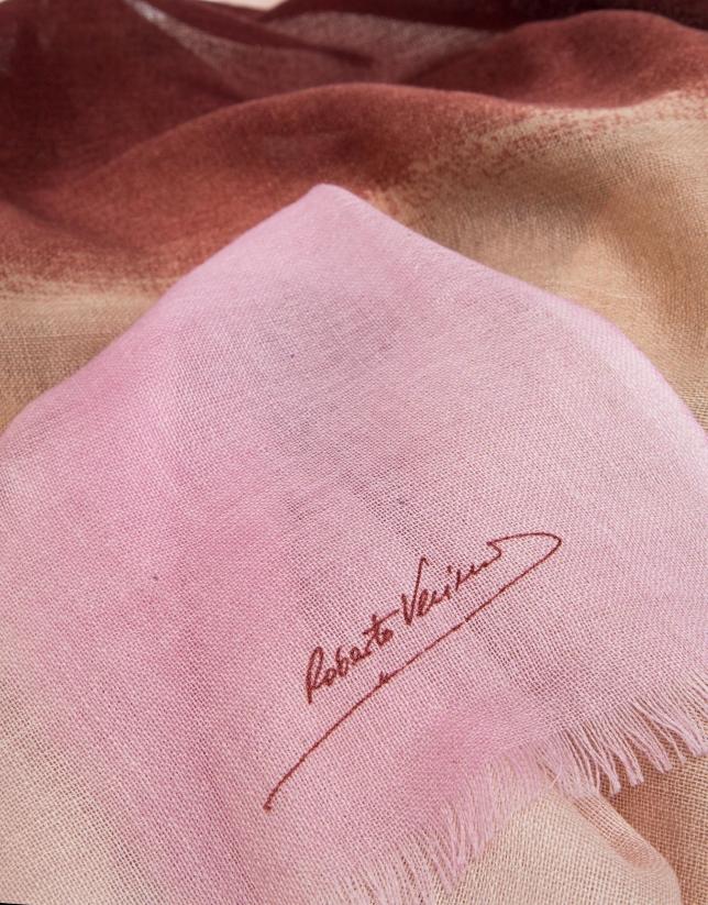 Pink degradé wool foulard