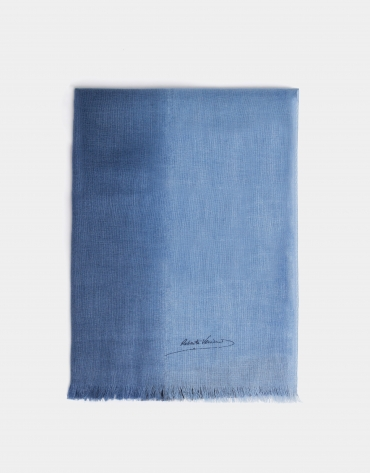 Blue degradé wool foulard