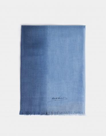Etole en laine dégradé bleu