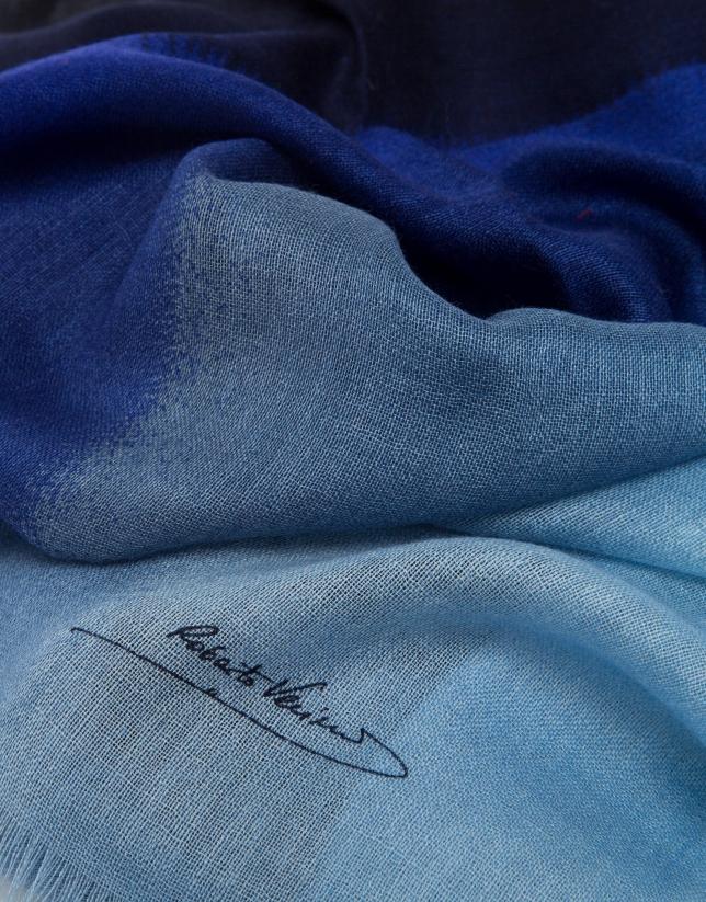 Blue degradé wool foulard