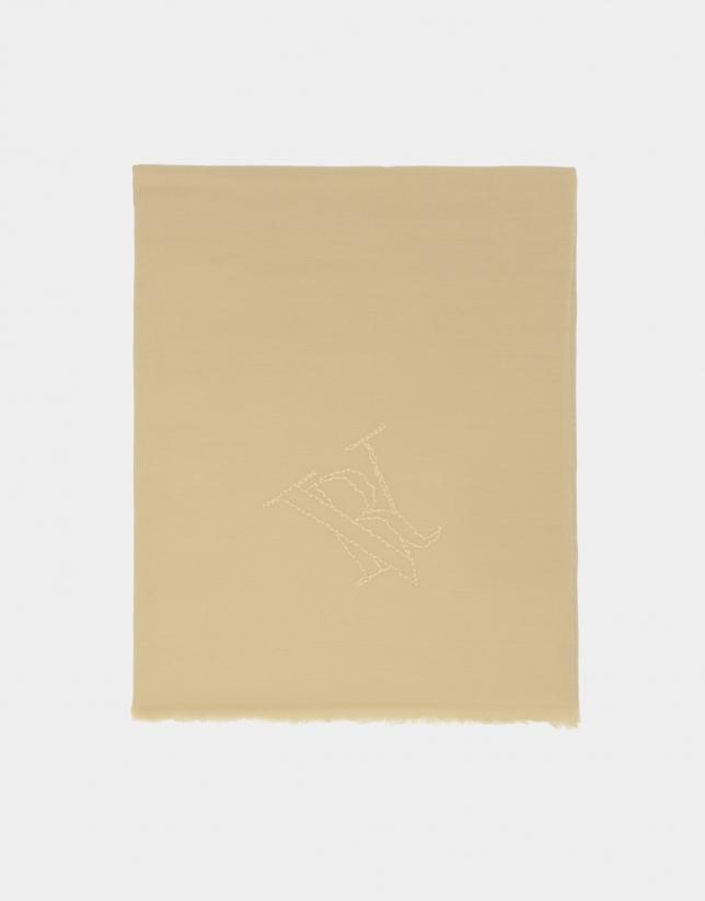 Fular lana color beige