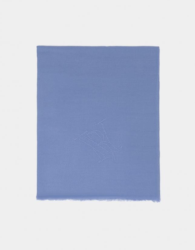 Etole en laine bleu ciel