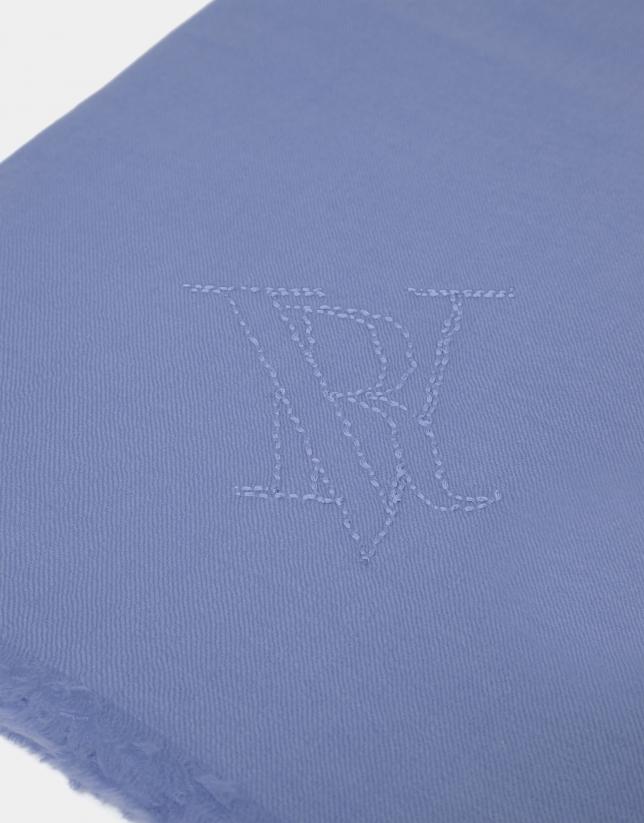 Light blue wool foulard