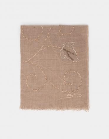 Beige print silk and wool foulard