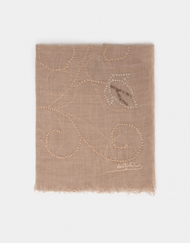 Beige print silk and wool foulard