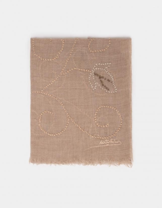 Etole en laine et soie imprimé beige