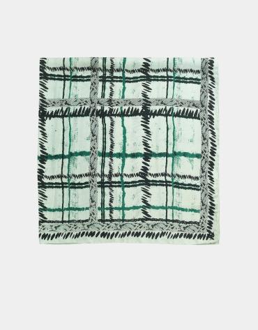 Foulard en soie à carreaux vert