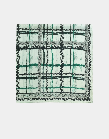 Green checked silk scarf