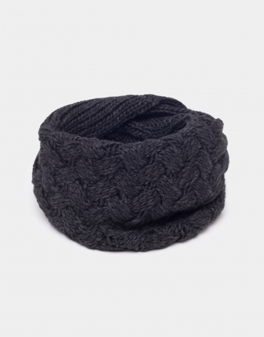 Gray wool tubular scarf