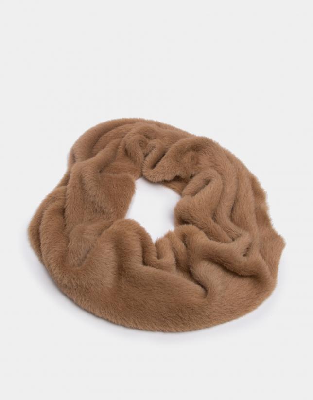 Beige knit tubular scarf
