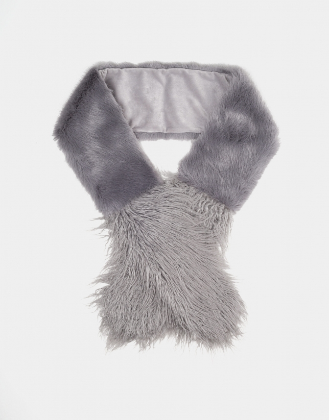 Pearl Gray fur-effect scarf