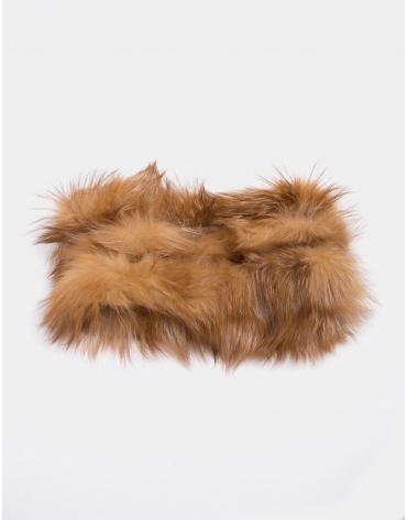Beige fox fur tubular scarf
