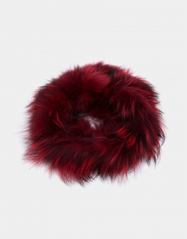 Red fox fur tubular scarf