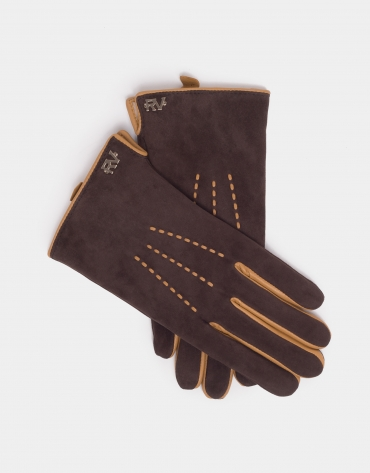 Coffee-colored suede and leather gloves