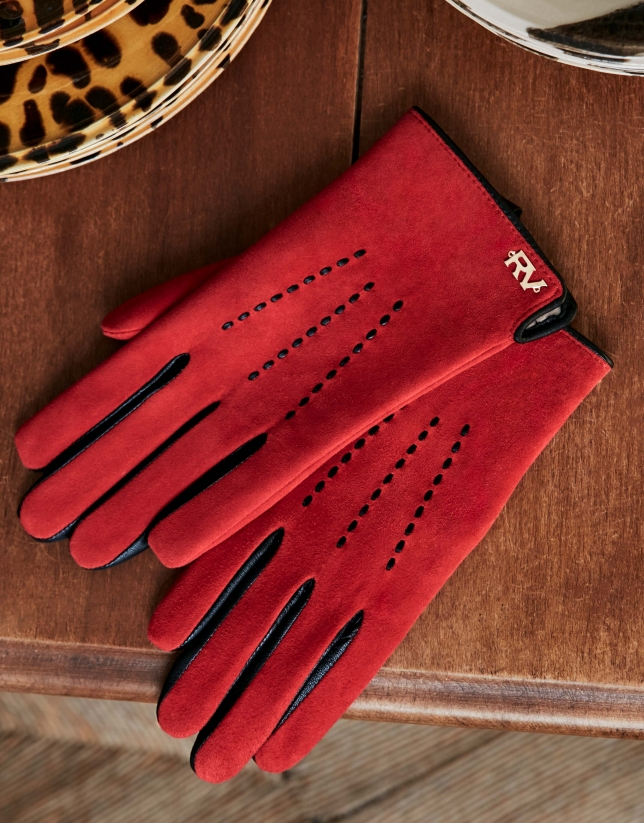 Red suede and leather gloves
