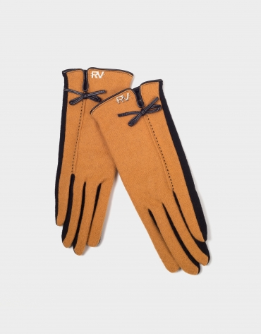 Gold knit two-color gloves