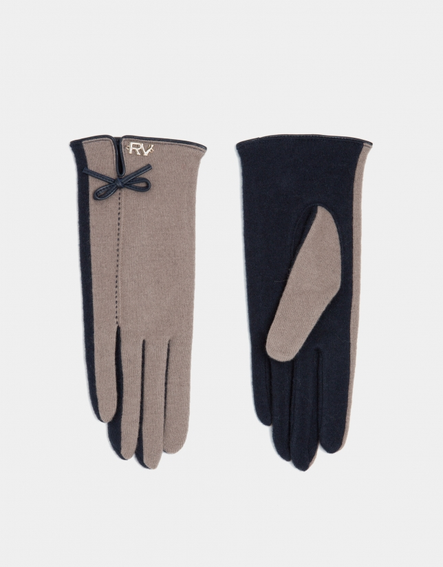 Navy blue knit two-color gloves