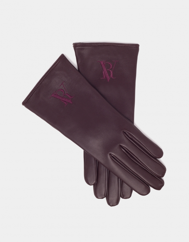 Burgundy leather gloves