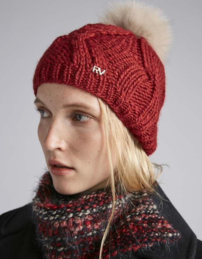 Red wool knit cap