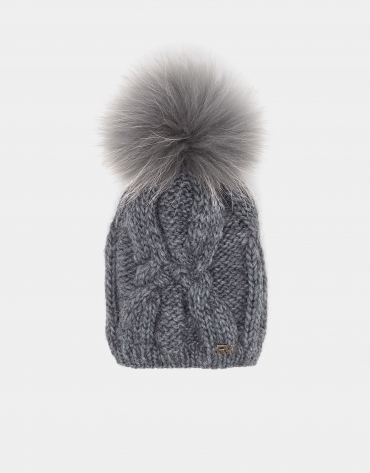 Light gray wool knit cap