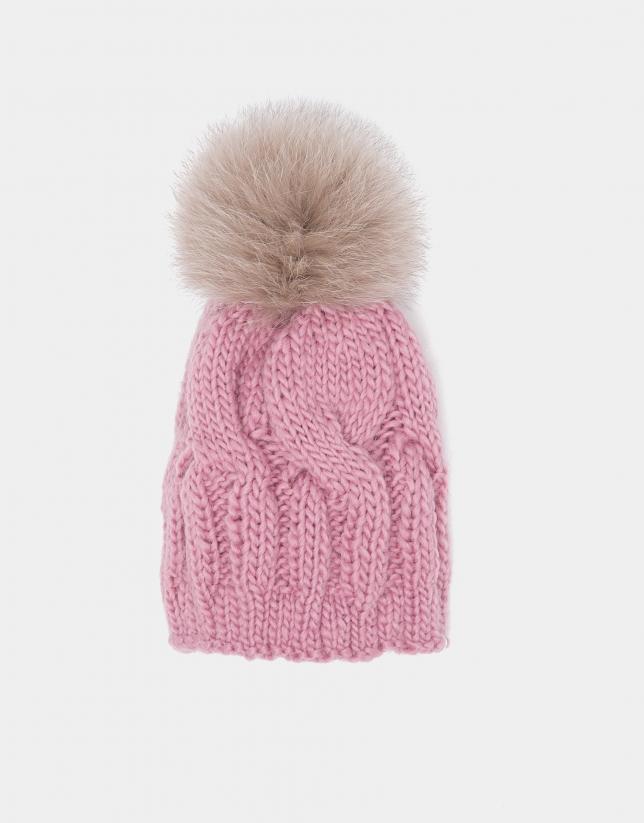 Gorro de punto de lana rosa