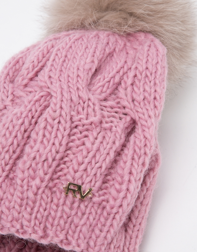 Pink wool knit cap