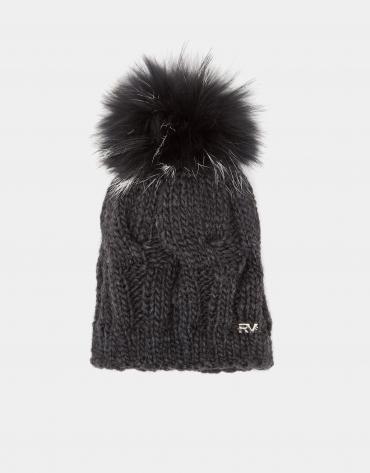 Bonnet en maille de laine gris foncé