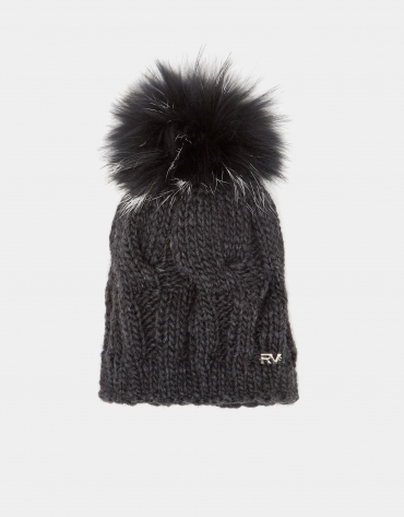 Dark gray wool knit cap