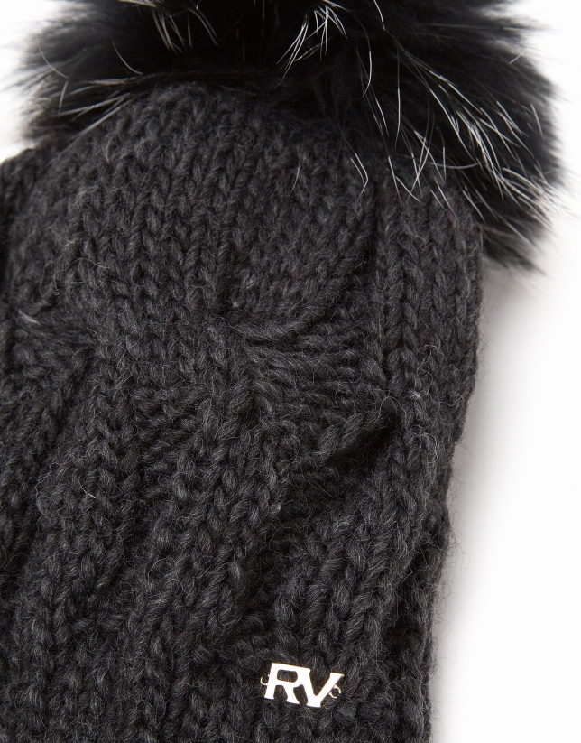 Dark gray wool knit cap