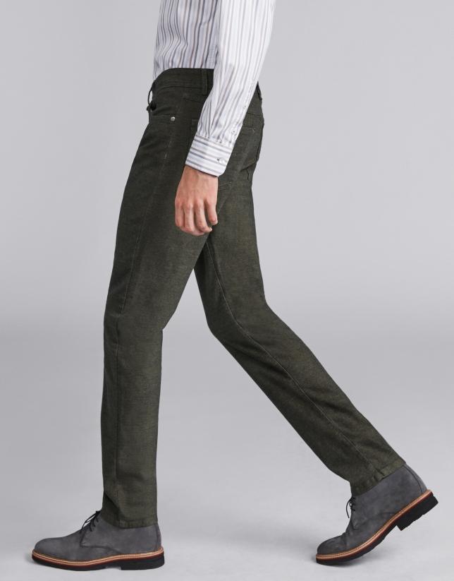 Khaki green pants with five pockets