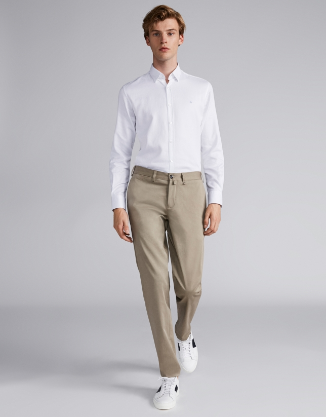 Mink-colored cotton chinos