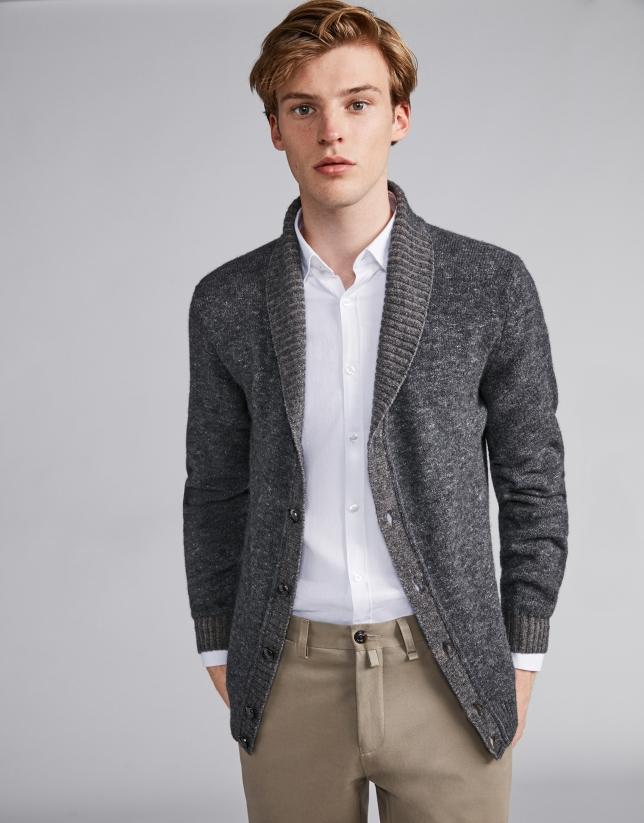 Pantalon chino en coton couleur vison