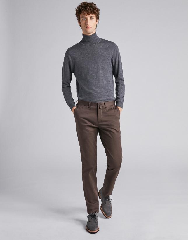Pantalon chino en coton marron