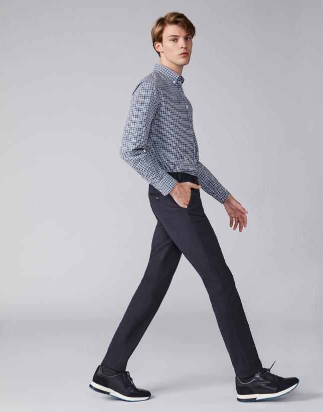 Pantalon chino en coton bleu marine