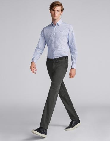 Pantalon chino en coton kaki foncé