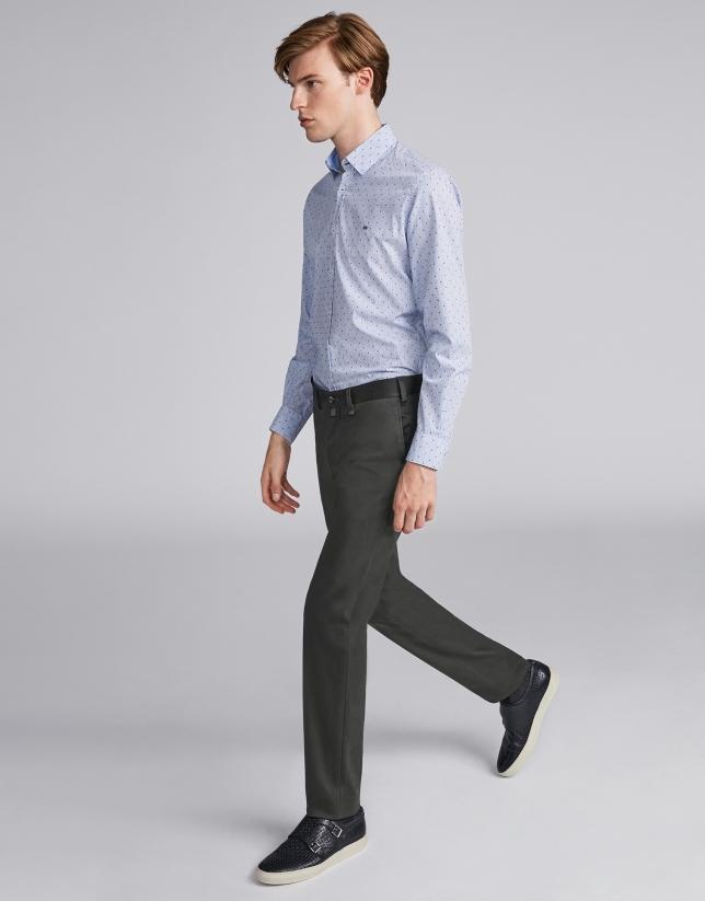 Pantalón chino algodón caqui oscuro