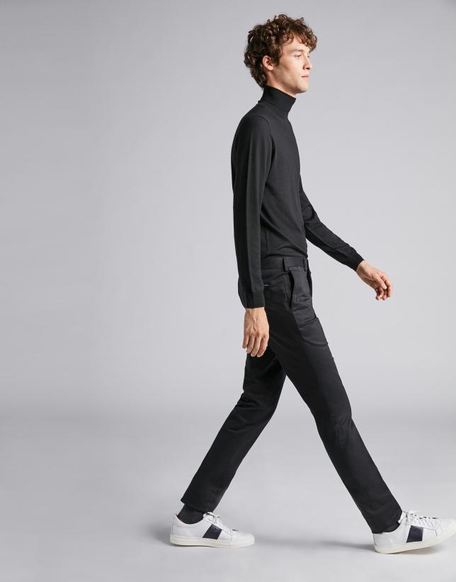 Pantalon chino en coton noir