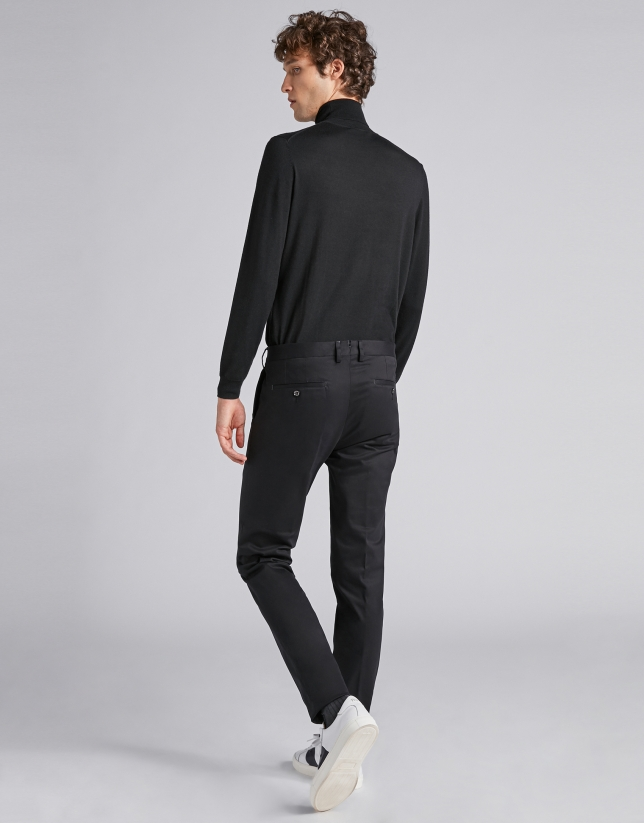 Black cotton chinos