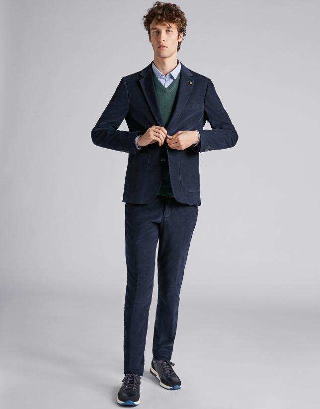 Pantalon en micro velours bleu marine
