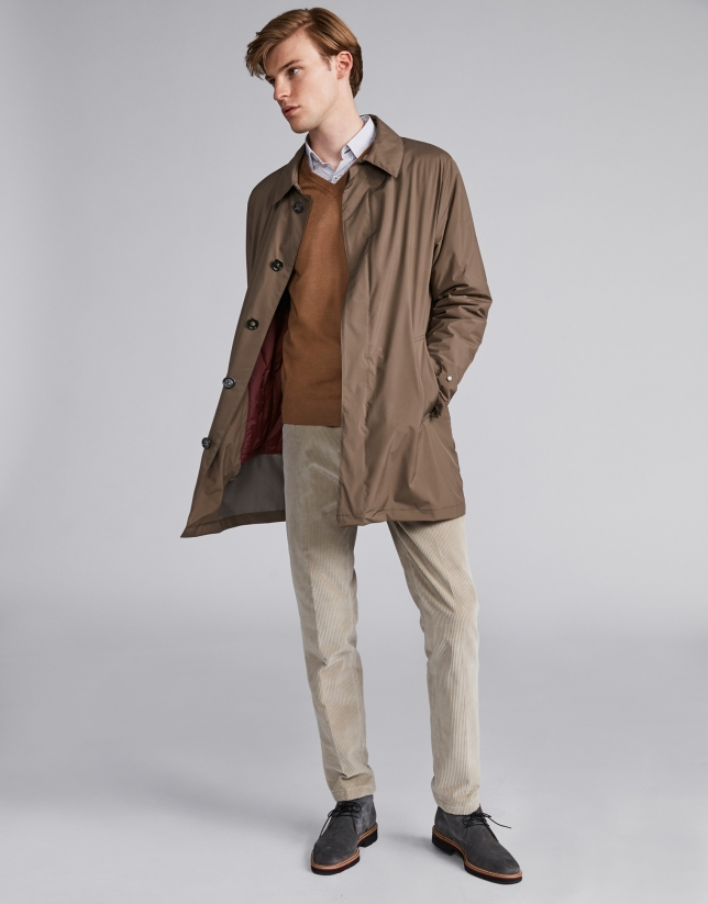 Pantalon en velours gris clair