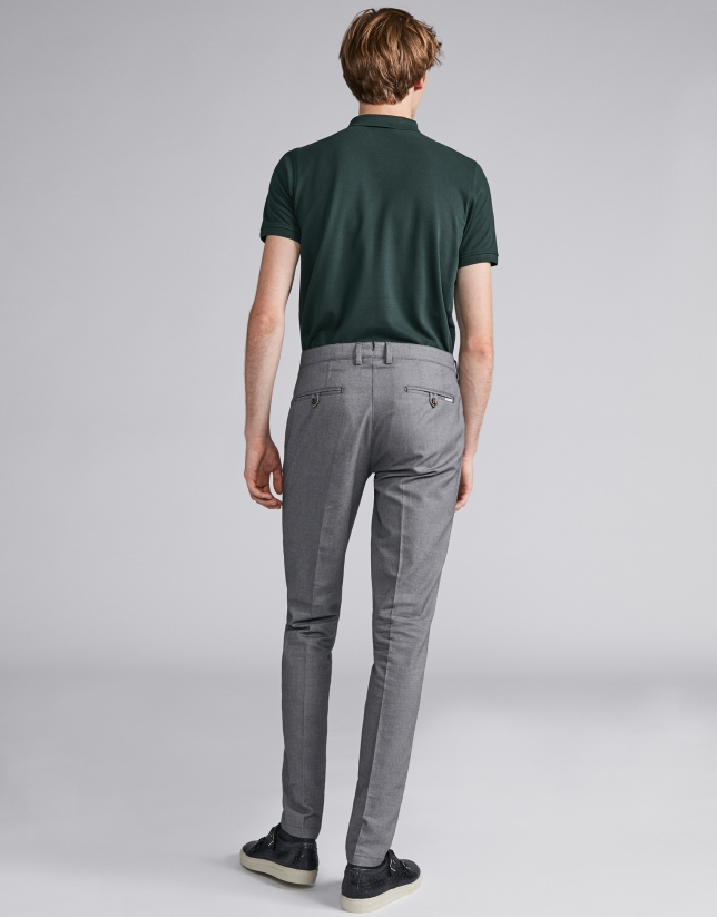 Grey bird's eye weave pants