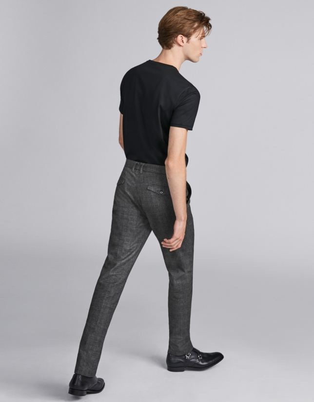 Pantalon à carreaux kaki