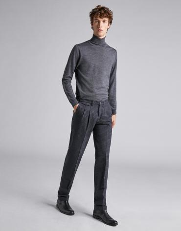 Pantalon à double pince à carreaux bleu marine